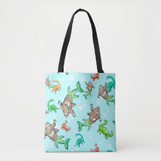 Loch Ness merm-squatch Sasquatch mermaid tote bag