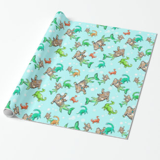 Loch Ness mermaid sasquatch monster wrapping paper