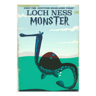 Loch Ness Monster funny travel poster