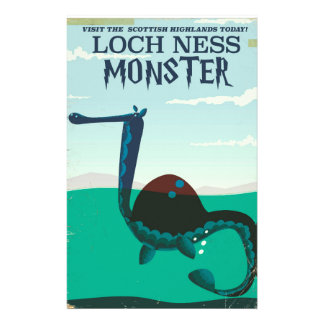 Loch Ness Monster funny travel poster Personalized Stationery