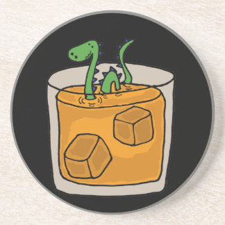 Loch Ness Monster in Scotch Whiskey Glass Beverage Coasters