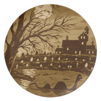 Loch Ness Monster On Halloween Party Plates