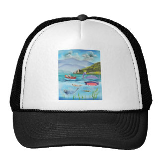 Loch Ness monster underwater painting G BRUCE Trucker Hat
