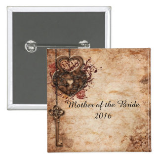 Lock and Key Mother of the Bride Button