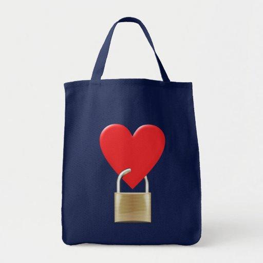 Lock locked heart heart closed PAD LOCK Canvas Bags