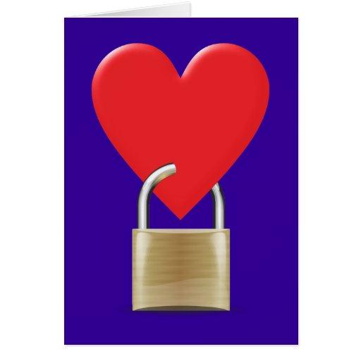 Lock locked heart heart closed PAD LOCK Card
