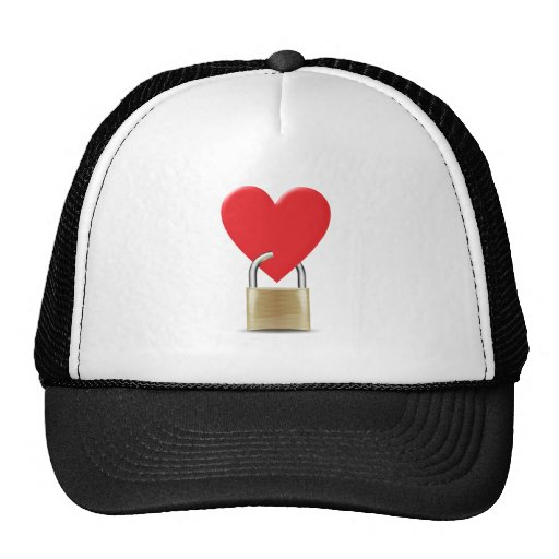 Lock locked heart heart closed PAD LOCK Trucker Hats