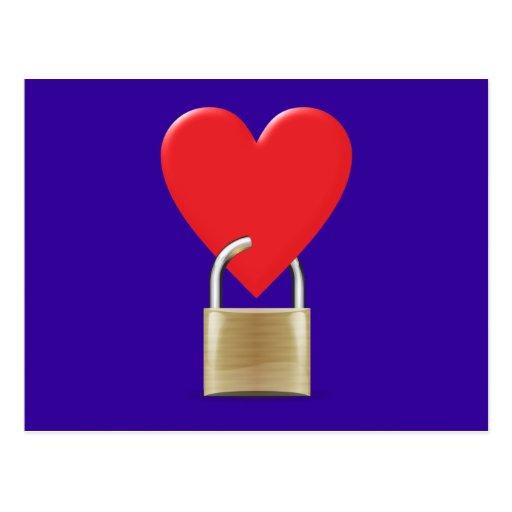 Lock locked heart heart closed PAD LOCK Postcard