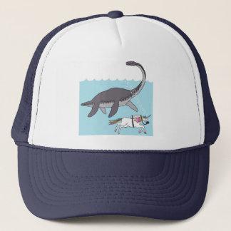 Lock Ness Monster Swimming With Unicorn Trucker Hat