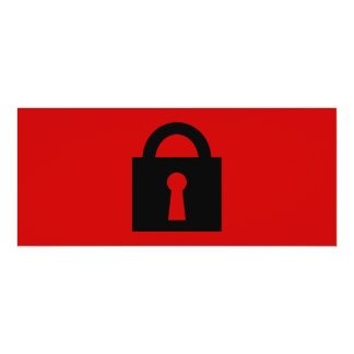 """Lock. Top Secret or Confidential Icon. 4"""" X 9.25"""" Invitation Card"""