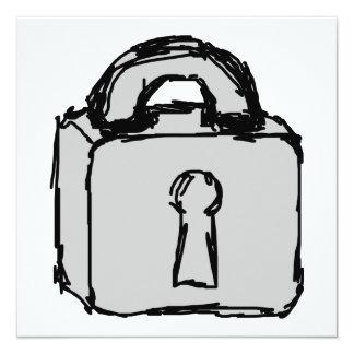 """Lock. Top Secret or Confidential Icon. 5.25"""" Square Invitation Card"""