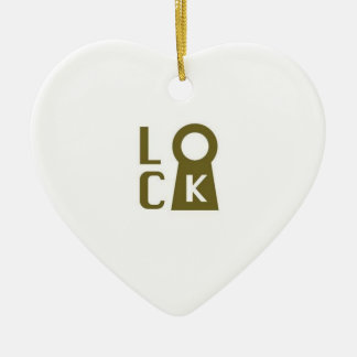 Lock you heart for me! ceramic heart ornament