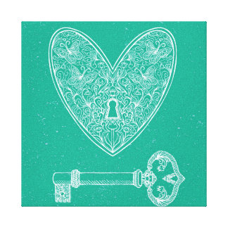 Locked Heart and Key on Emerald Green Background Stretched Canvas Prints