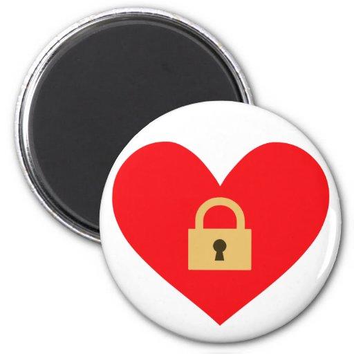 locked heart closed heart fridge magnet