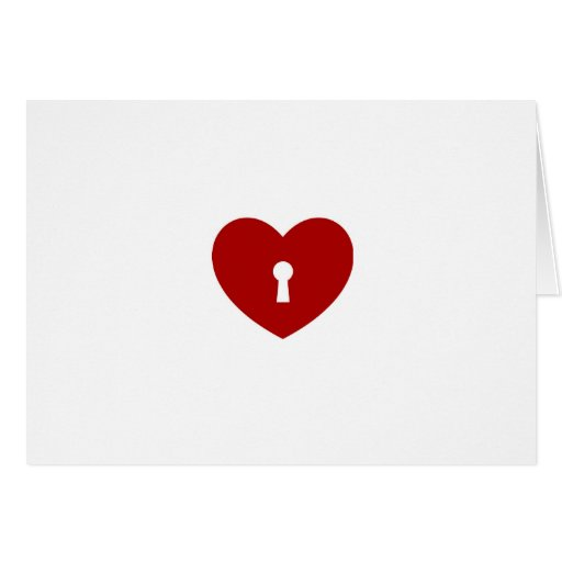 Locked heart design print fun true love pattern greeting card