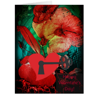 Locked Heart, Hibiscus Rose Love Valentine's card