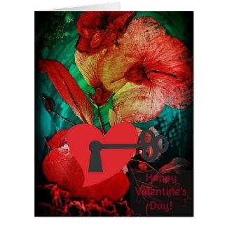 Locked Heart, Hibiscus Rose Love Valentine's card