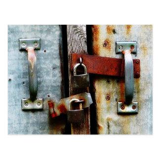 Locked up Tight! Two Rusty Bars and Key Locks Postcard