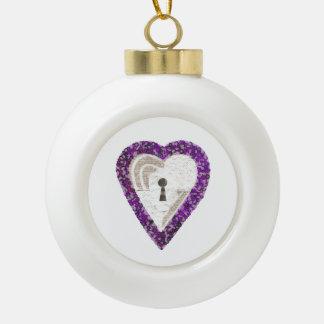 Locker Heart Bauble Ceramic Ball Christmas Ornament