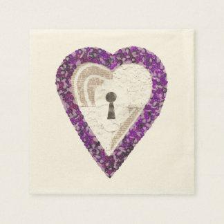 Locker Heart Ecru Napkins Disposable Napkin