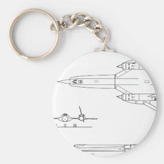 Lockheed_YF-12A_3view Keychain