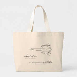 Lockheed_YF-12A_3view Large Tote Bag
