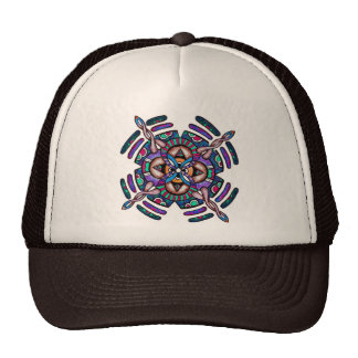 Locking in peace - funky cap peacocl color mandala trucker hat