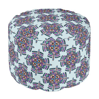 Locking in peace - round pouf peacock color