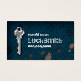 Locksmith Business Card Grunge blue