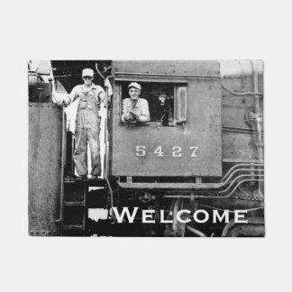 Locomotive Engineer and Conductor Vintage Railroad Doormat