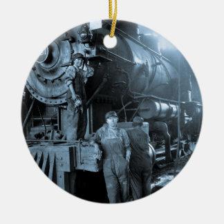 Locomotive Ladies Roundhouse Rosies World War I Ceramic Ornament