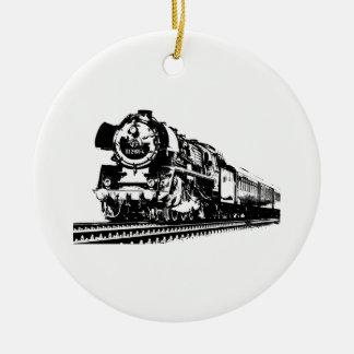 Locomotive Silhouette Ceramic Ornament