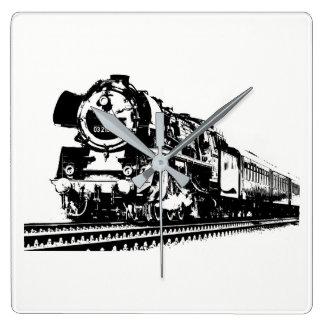 Locomotive Silhouette Square Wall Clock
