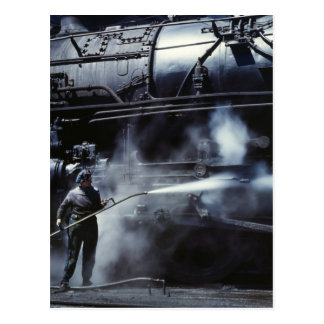 Locomotive Steam Bath: 1943 Postcard