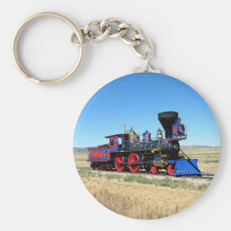 Locomotive Steam Engine Train Photo Basic Round Button Keychain
