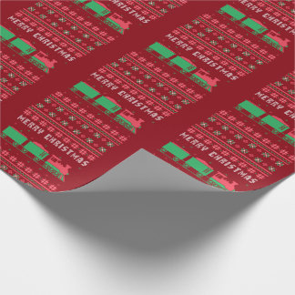 Locomotive Train Ugly Christmas Sweater Wrapping Paper