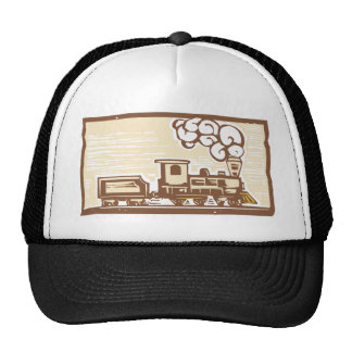 Locomotive Woodcut Trucker Hat