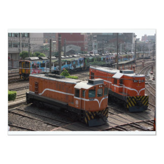 Locomotives at Changhua Roundhouse, Taiwan Custom Invite