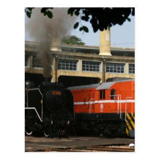 Locomotives at Changhua Roundhouse, Taiwan Postcard