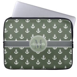 Loden Green White Ship Anchors Monogram Laptop Sleeve