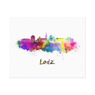 Lodz skyline in watercolor canvas print