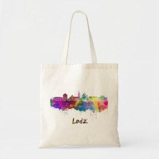 Lodz skyline in watercolor tote bag
