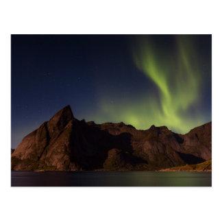 Lofoten - Northern lights over Olstind postcard