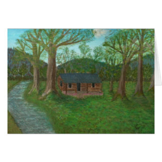 Log Cabin and Trees Card