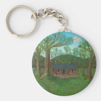 Log Cabin and Trees Keychain