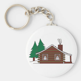 Log Cabin Basic Round Button Keychain
