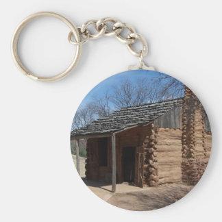 Log Cabin Basic Round Button Keychain