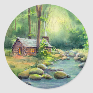 LOG CABIN by SHARON SHARPE Round Sticker