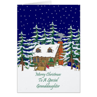 Log Cabin Christmas Granddaughter Card