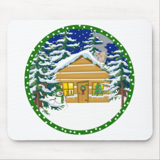 Log cabin christmas mouse pad
